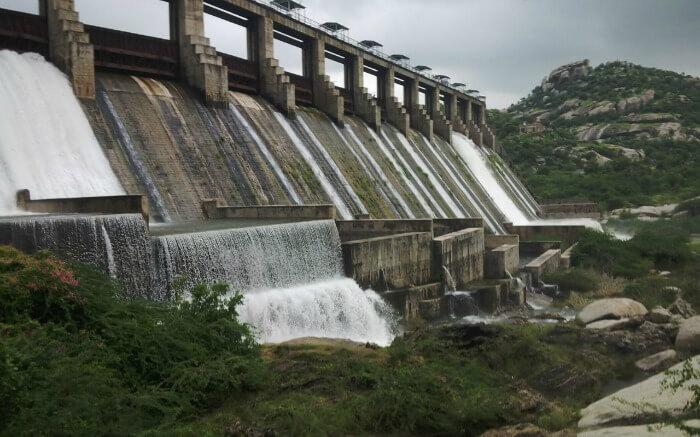 Water flowing from Jawai Dam