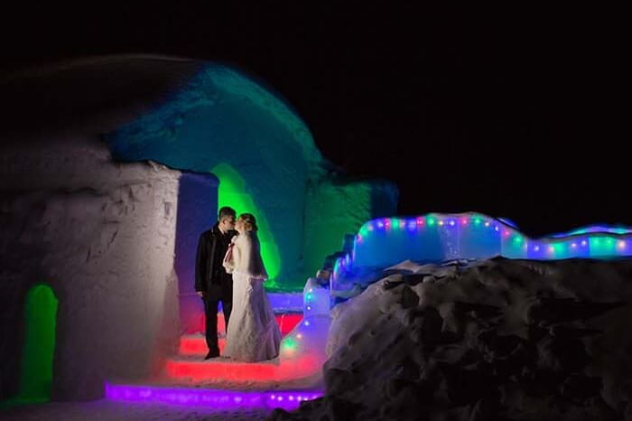 Wedding at chapel of Ice Hotel in Lapland