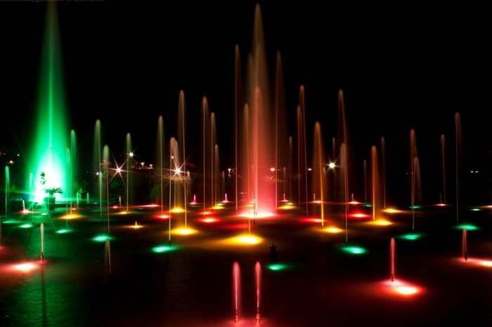 Musical fountain all lit up in Brindavan Gardens in Mysore
