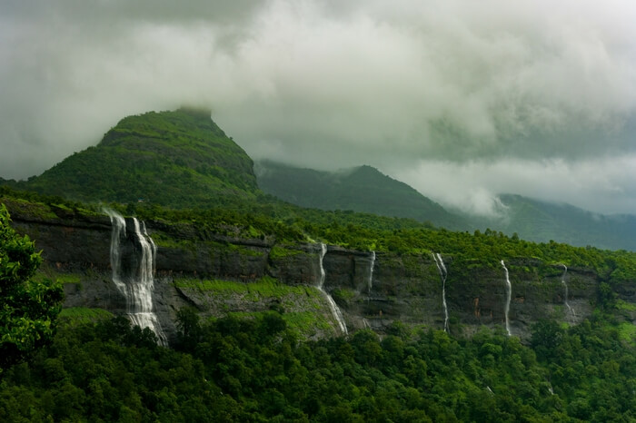 Strams of waterfall gushing down the mountains in Bhimashankar
