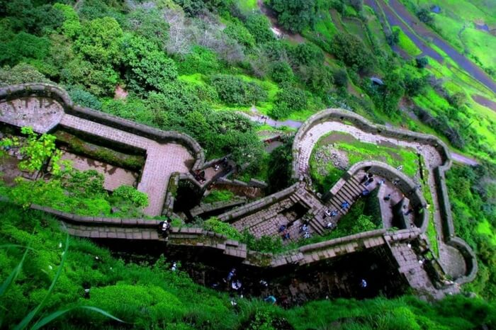 Top view of Lohagad in Maharashtra during monsoon