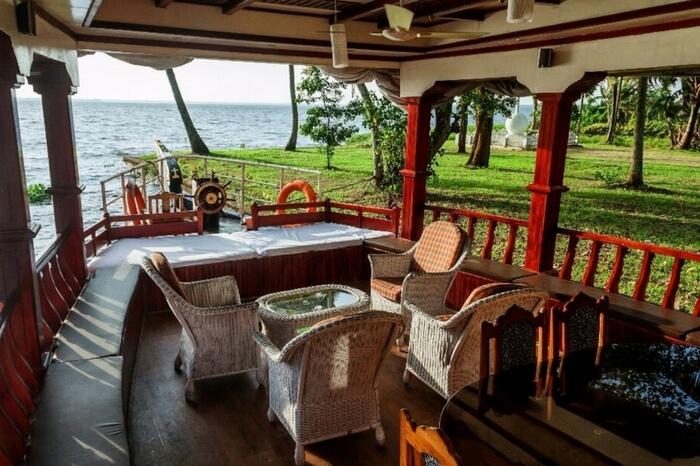 Seating area of Aqua Jumbo Houseboats in Kumarakom