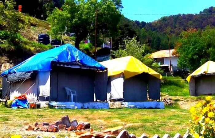 Camps erected on a campsite in Dhanaulti in Uttarakhand