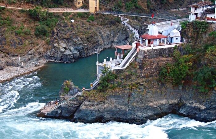 The confluence of holy Alaknanada and Mandakini in Rudraprayag