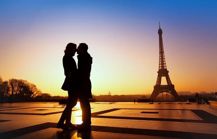 Couple At Eiffel Tower Paris