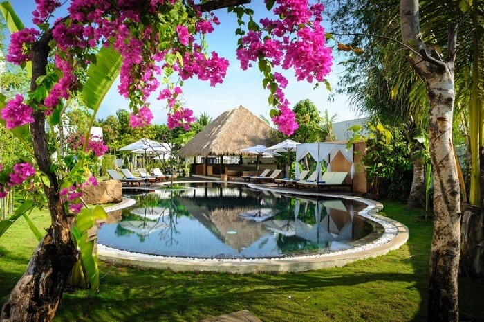 A beautiful shot of the swimming pool at the Navutu Dreams Resort and Spa in Siem Reap