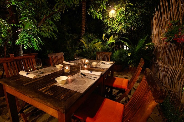 The dining facility at Cuisine Wat Damnak in Siem Reap