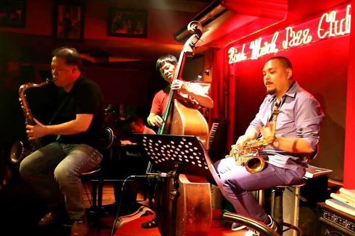 Artists performing at the Binh Minh Jazz Club in Hanoi