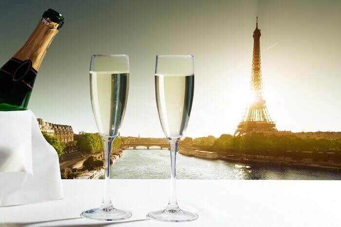 wine in front of eiffel tower paris