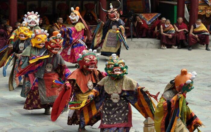 men wearing mask during Hemis festival in Ladakh