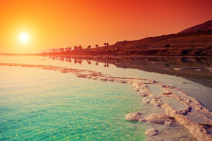 A shot of the sunrise over Dead Sea in Jordan