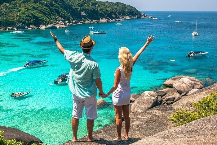 A couple enjoying breathtaking views from one of the viewpoints on their honeymoon in Phuket