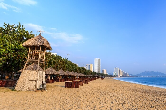 The Nha Trang City Beach in Vietnam on a summer morning
