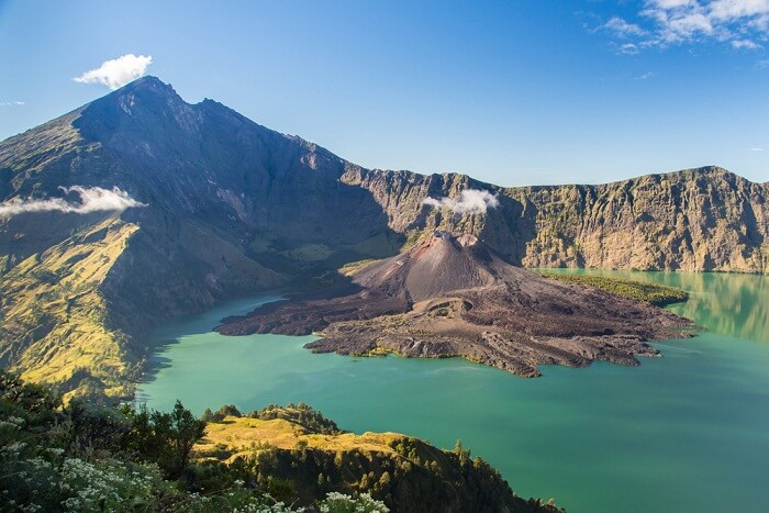 The crater of Mt.Rinjani in Lombok island