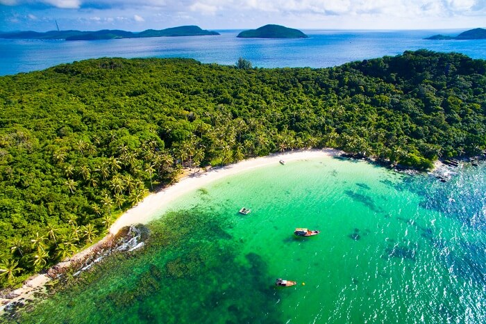 Aerial view of May Rut island in Phu Quoc