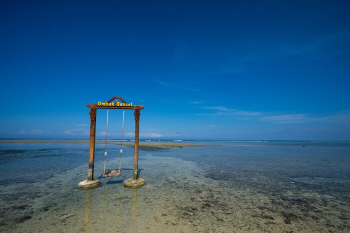 Ombak swing on the shores of Gili Trawangan island in indonesia