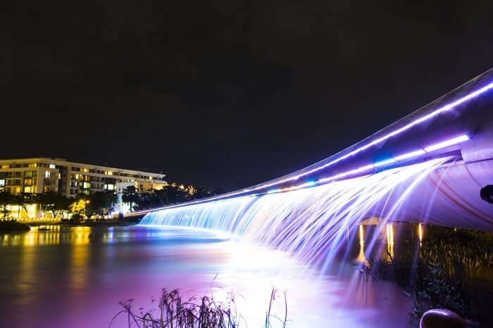 The beautiful and colorful starlight bridge in Saigon at night