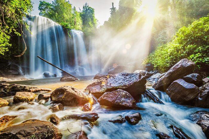 A beautiful shot of the Kulen Waterfall in Siem Reap