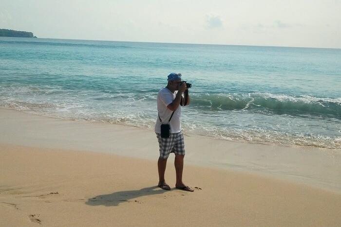 traveler by the beach in Bali