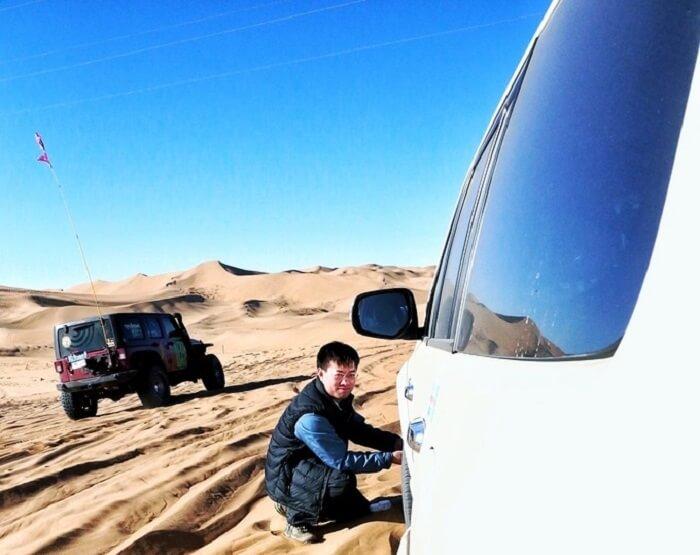 man in mongolia desert