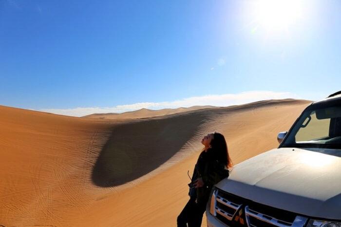 girl in mongolia desert