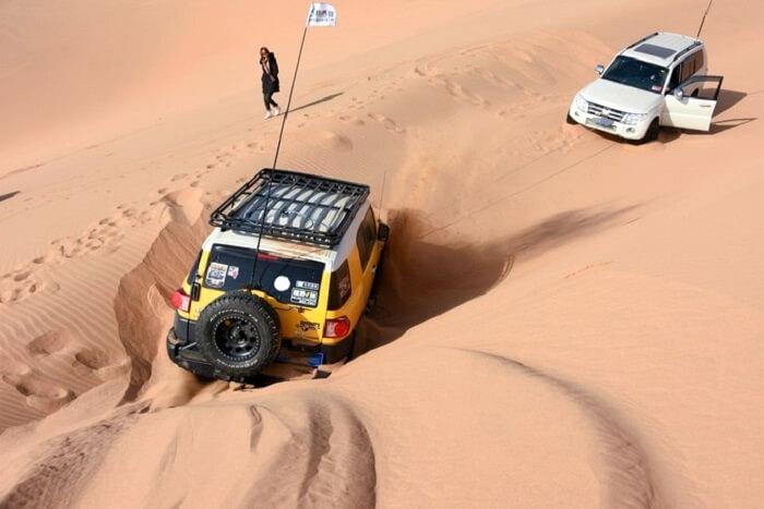 car stuck in desert