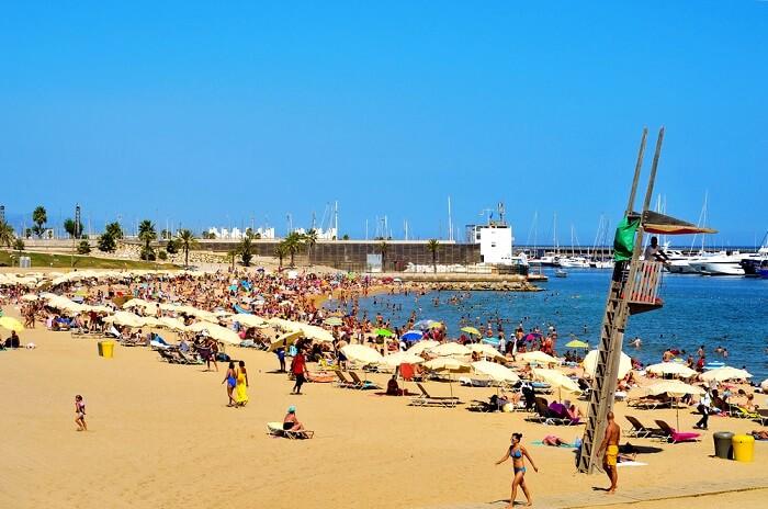 Somorrostro beach in Barcelona