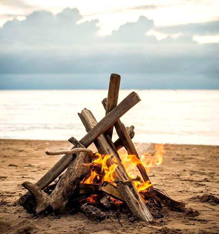 bonfire at the beach in Bahamas