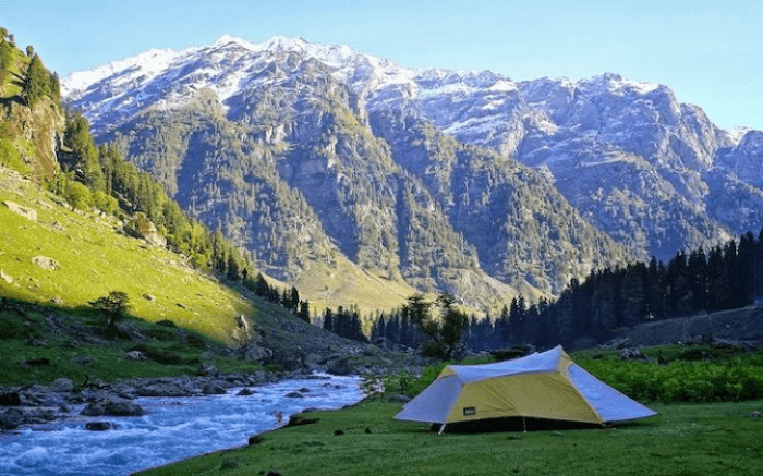 A camp by the riverside in Aru Valley in Kashmir