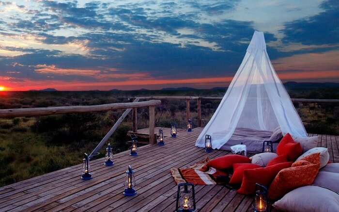 A romantic set up overlooking the sunset in Madikwe in South Africa