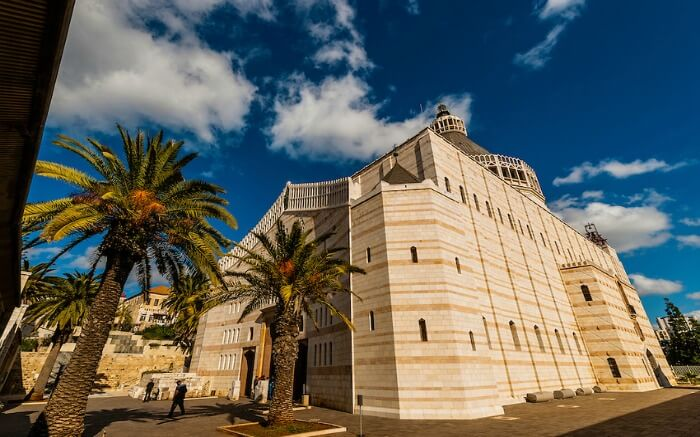 A view of Basilica of the Annunciation in Nazareth in Israel