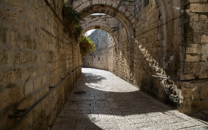 A view of an ancient street in Jerusalem in Israel