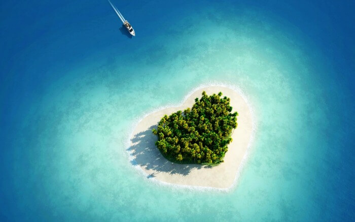 Aerial view of Tavarua Island- One of the most beautiful heart-shaped islands in the world