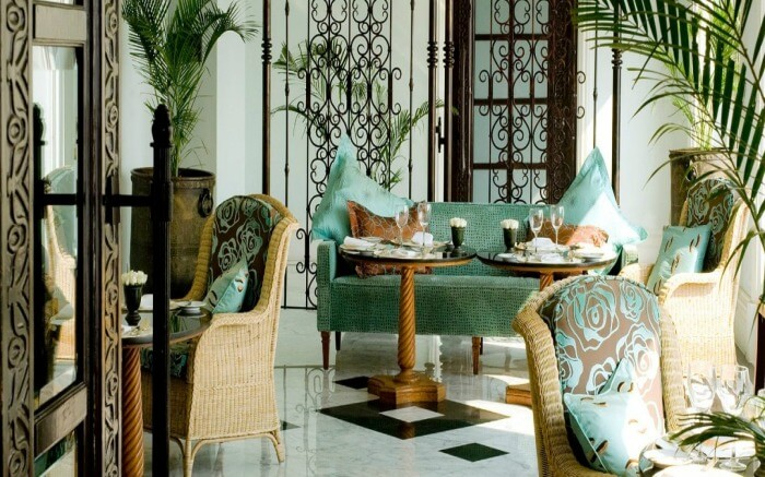 An elegant dining space of Sea Lounge at Taj Mahal Palace in Colaba in Mumabi