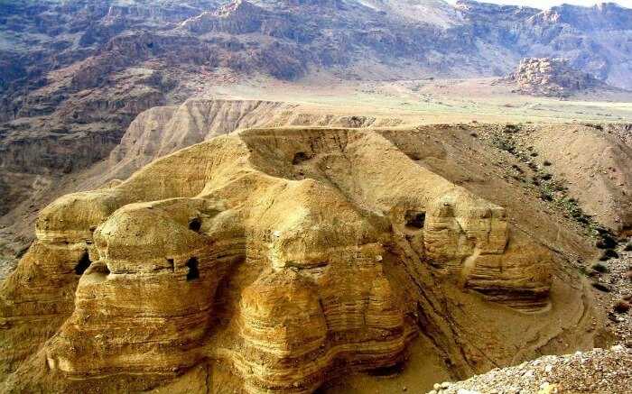 Ancient caves overlooking the Dead Sea in Israel