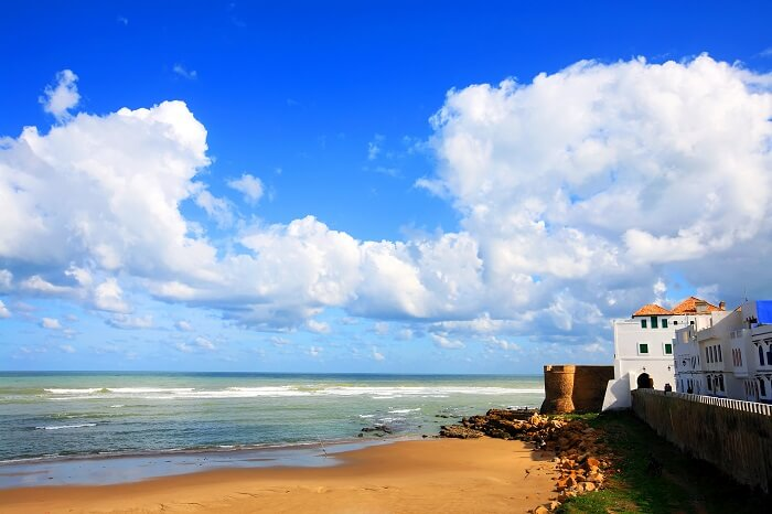 A view of the Morrocan coastline and beach at Asilah