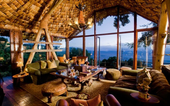 Beautiful interiors of Andbeyond Ngorongoro Crater Lodge in Tanzania