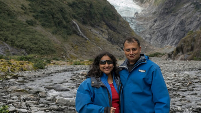At the foot of the frank josef glacier
