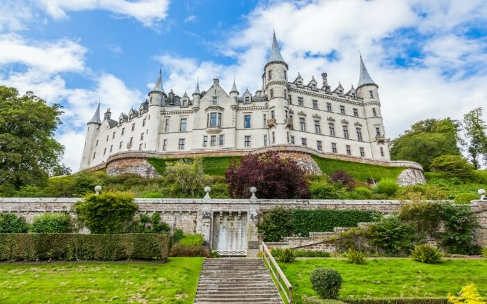 Sunny day at Dunrobin Castle in Scotland