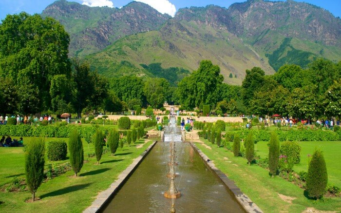 Fountains amidst the garden area in the Mughal Garden in Kashmir