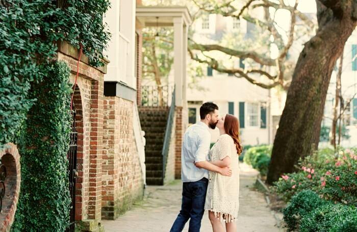 Couple in savannah on honeymoon