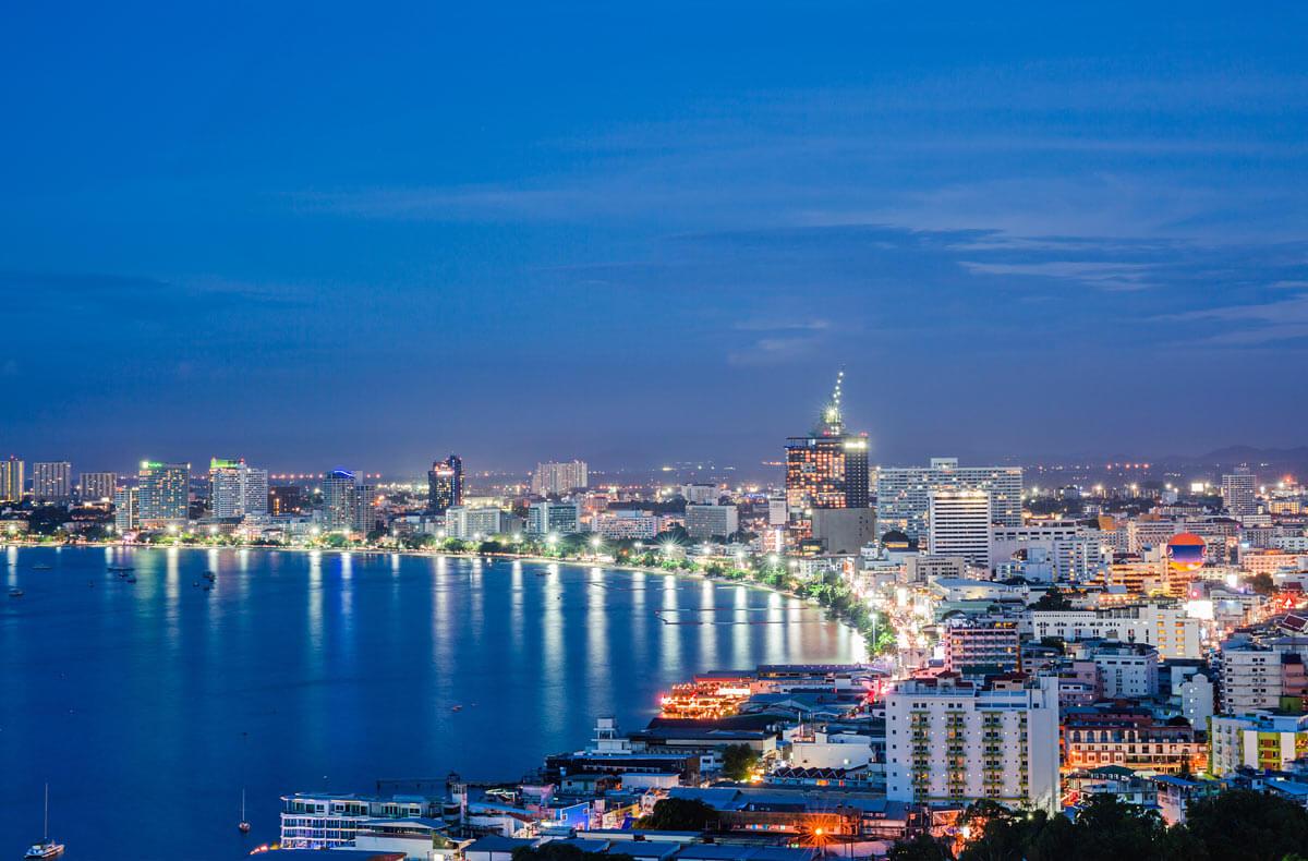 city lights from the beach Jomtien Beach