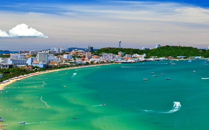 Jomtien Beach of pattaya surrounded by hotels