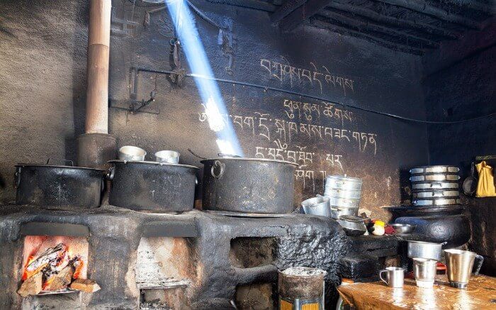 Kitchen inside Key Monastery in Spiti