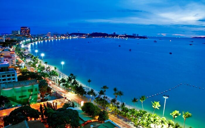 Pattaya Beach surrounded by gleaming lights