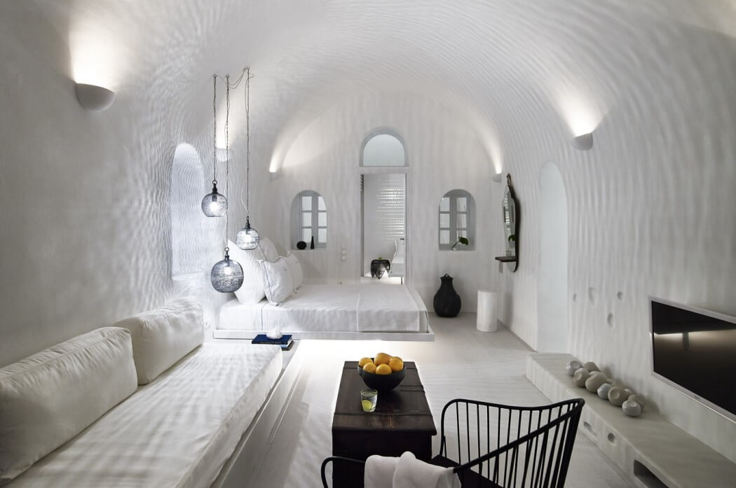 cave type resort in Santorini
