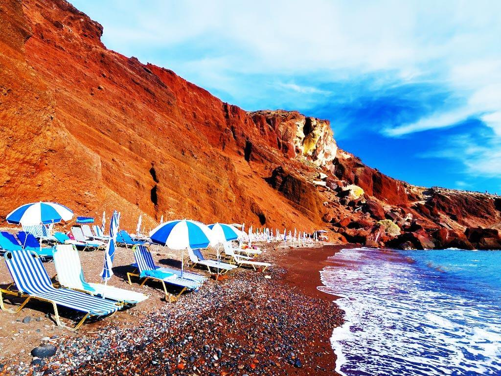 Cabanas on Red Beach of Santorini