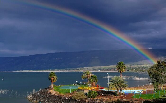 Rainbow spotted in near the Galilee Lake in Israel
