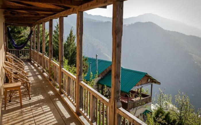 Scenic views from the balcony of Seetalvan Orchard Resort in Kotgarh Shimla