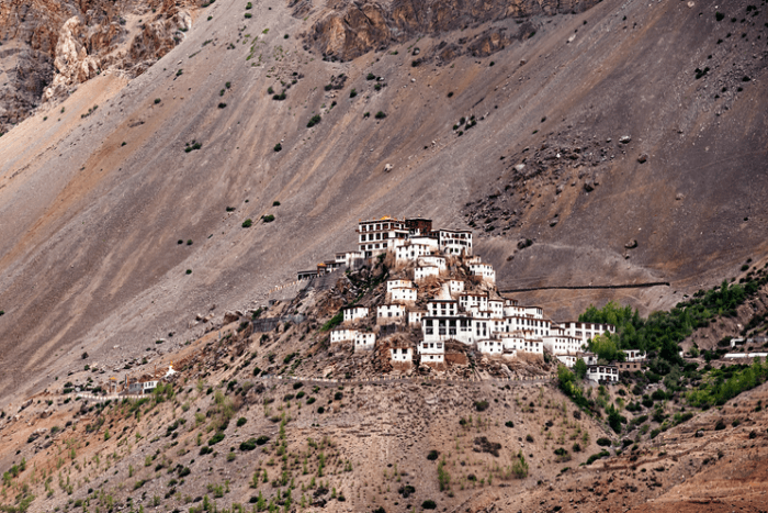 A distant view of Kye monastery and surrounding landscape
